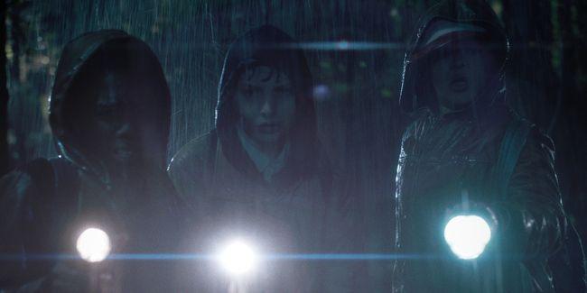 <strong><em>Stranger Things</em></strong> boys in the rain