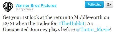 The Hobbit trailer tweet