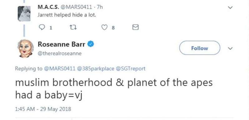<strong><em>Roseanne</em></strong> Barr racist tweet