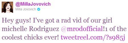 Milla Jovovich <strong><em>Resident Evil: Retribution</em></strong> Tweet #1