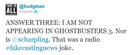 John Hodgman <strong><em>Ghostbusters</em></strong> 3 tweet