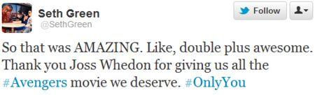 Seth Green The Avengers Tweet