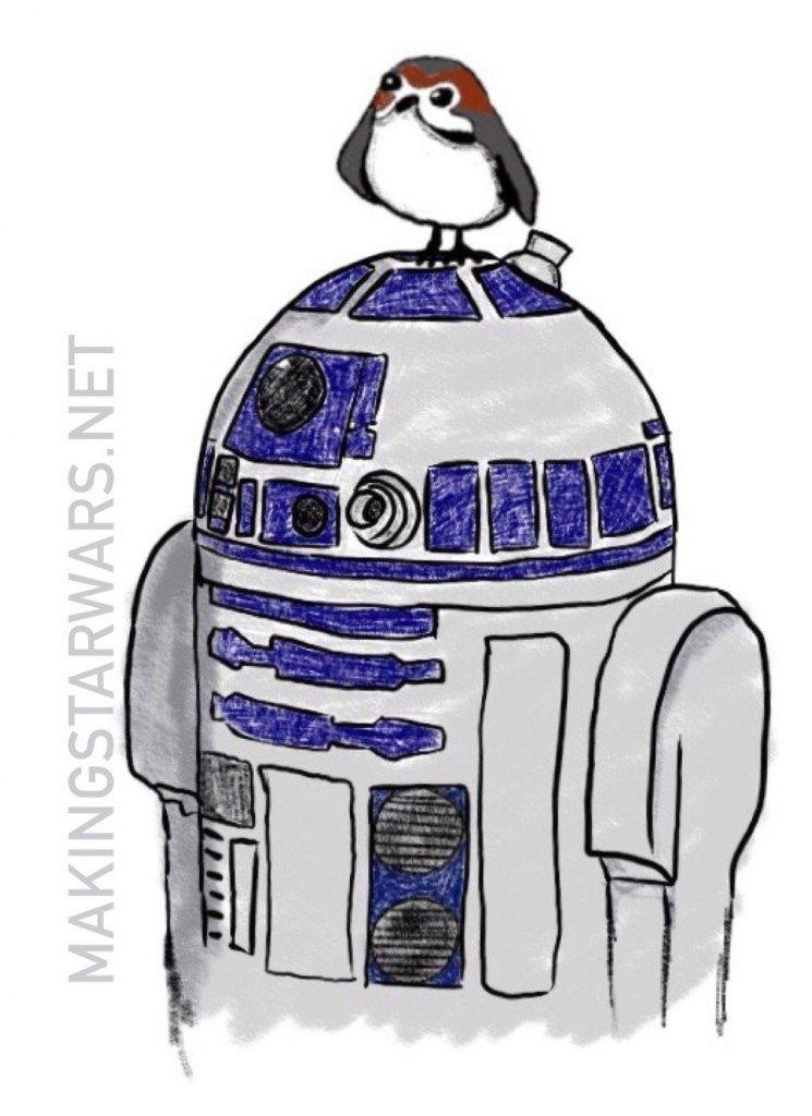 Star Wars The Last Jedi R2D2 Porg skecth