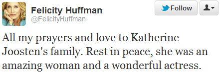 Felicity Huffman Kathryn Joosten tweet