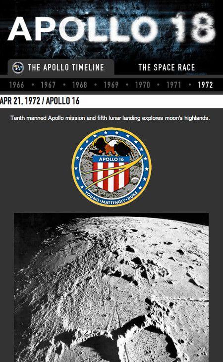 <strong><em>Apollo 18</em></strong> Facebook timeline