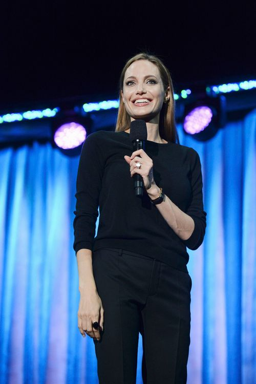 Angelina Jolie is on hand to talk about <strong><em>Maleficent</em></strong>