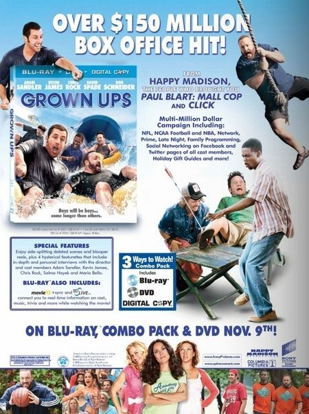 <strong><em>Grown Ups</em></strong> DVD cover art advertisement