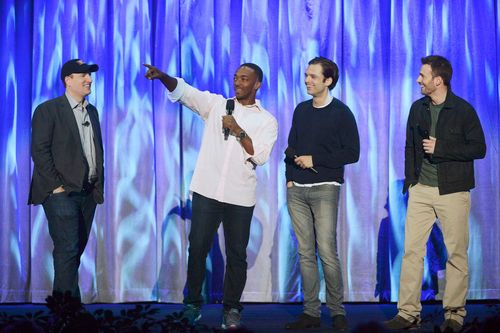 Anthony Mackie and Chris Evans arrive at D23 to talk <strong><em>Captain America: The Winter Soldier</em></strong>
