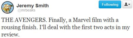 Jeremy Smith The Avengers Tweet