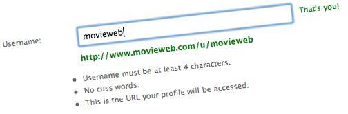 Change your MovieWeb username