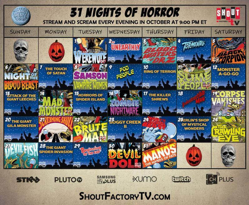 Scream Factory 31 Nights of Horror calendar