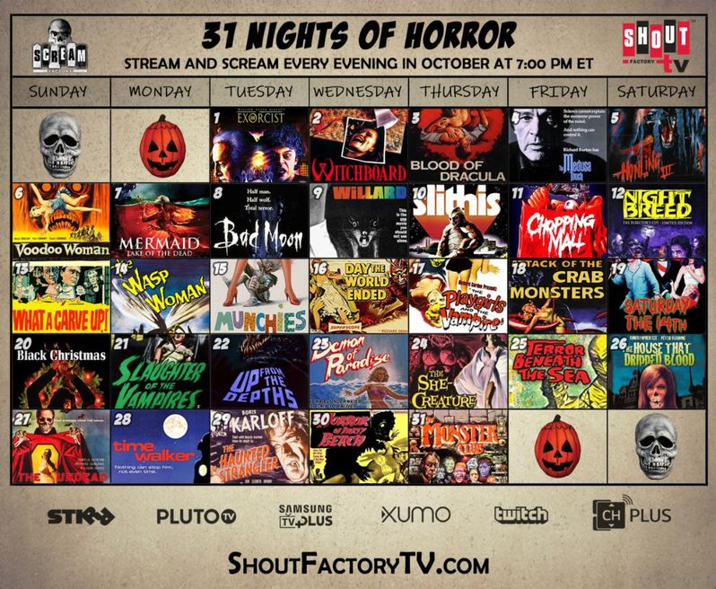 MST3K Factory 31 Nights of Horror calendar