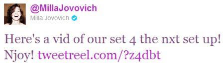 Milla Jovovich <strong><em>Resident Evil: Retribution</em></strong> Tweet #2