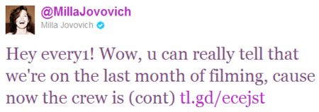 Milla Jovovich <strong><em>Resident Evil: Retribution</em></strong> tweet