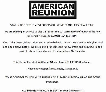 <strong><em>American Reunion</em></strong> Casting Call
