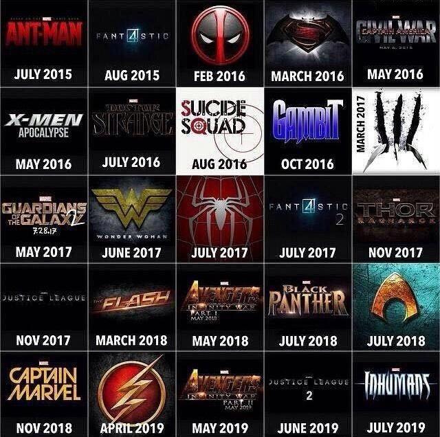 Superhero Movie Chart for the Next 4 Years