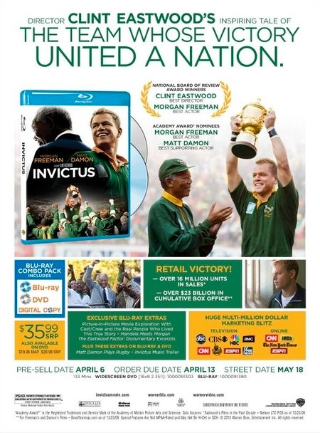 <strong><em>Invictus</em></strong> DVD/Blu-ray