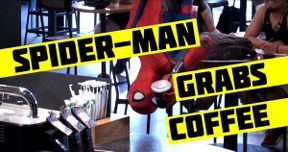 Watch Spider-Man Scare Starbucks Customers in Hilarious Prank Video