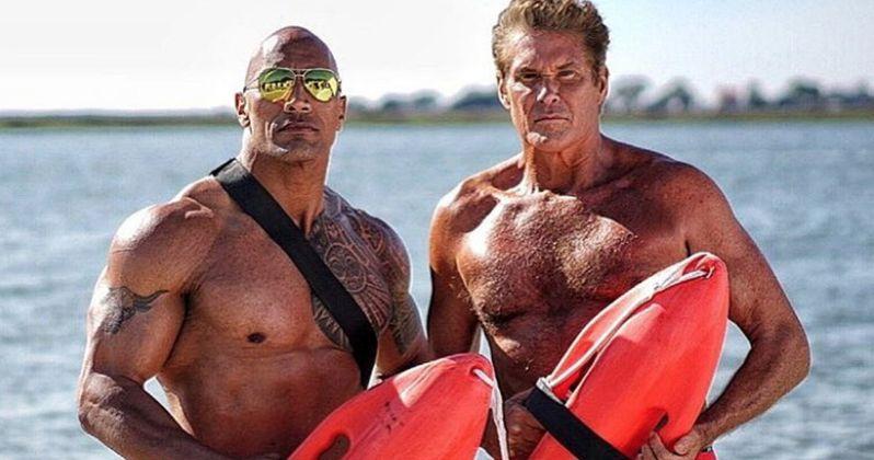 David Hasselhoff & Dwayne Johnson Team-Up in New Baywatch Photos