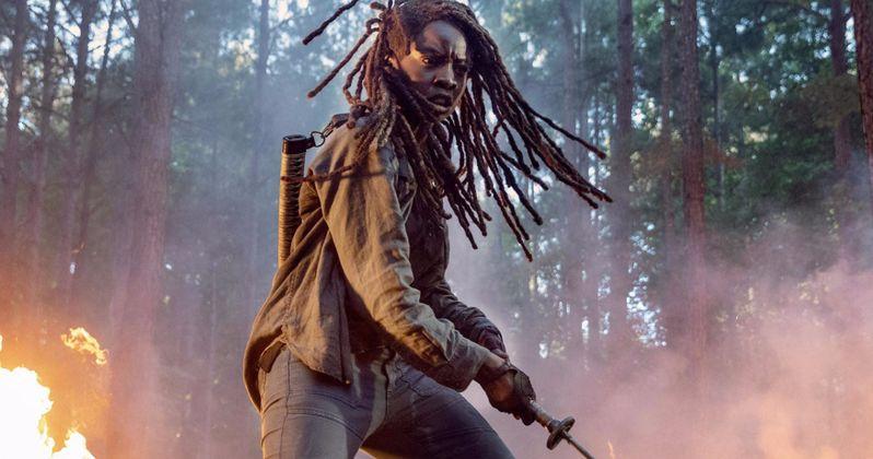 Fiery Walking Dead Season 10 Photo Has Michonne Slicing Up Zombies