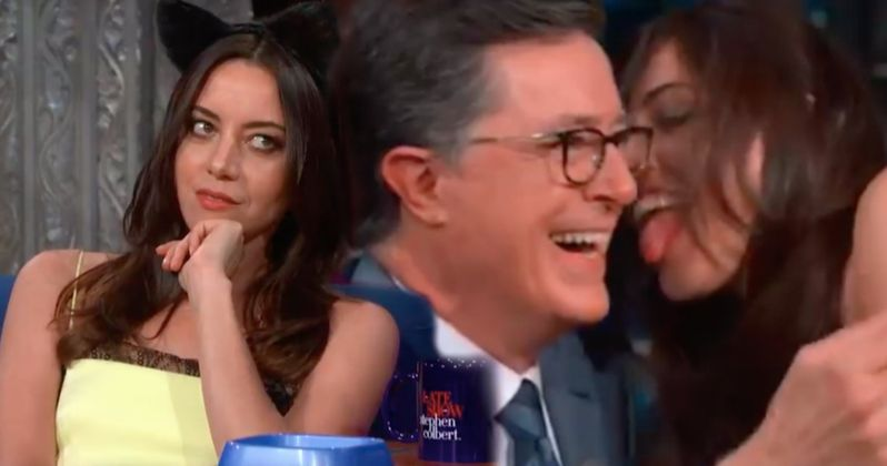 Watch Aubrey Plaza Audition for Catwoman in The Batman by Licking Stephen Colbert