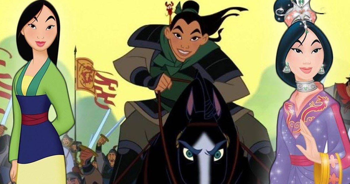 Personnage de Mulan au début, milieu et à la fin du film Disney