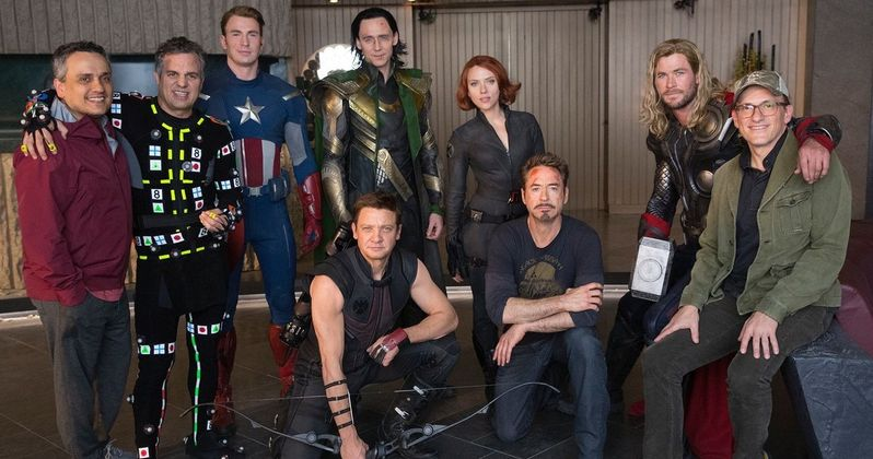 Original Avengers Assemble on Recreated 2012 Set in Latest Endgame BTS Image