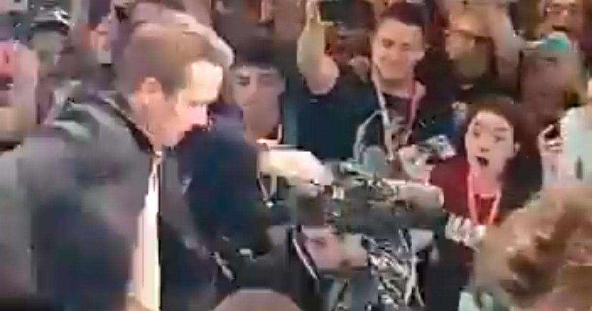 Watch Ryan Reynolds Almost Get Crushed at #CCXP19 by Excited