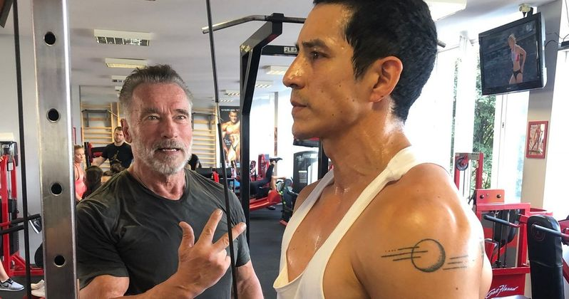 Schwarzenegger Shows Gabriel Luna How to Get Pumped for Terminator 6