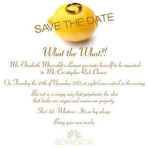 30 Rock Wedding Invite; Liz Lemon and Crisstopher Rock Chross Are Getting Married November 29th!