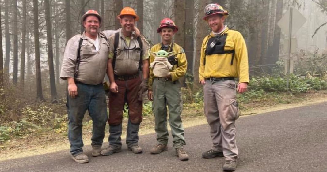 Baby Yoda Brings Firefighters Comfort While Fighting Oregon Wildfires