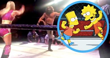 Pro Wrestlers Recreate Iconic Bart Vs. Lisa Fight from The Simpsons