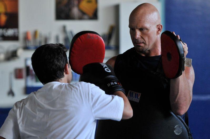 Steve Austin and Jaren Brandt Bartlett in training
