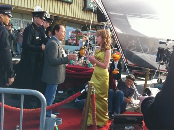 Billy Crystal and Kathy Griffin on the set of <strong><em>The Muppets</em></strong>