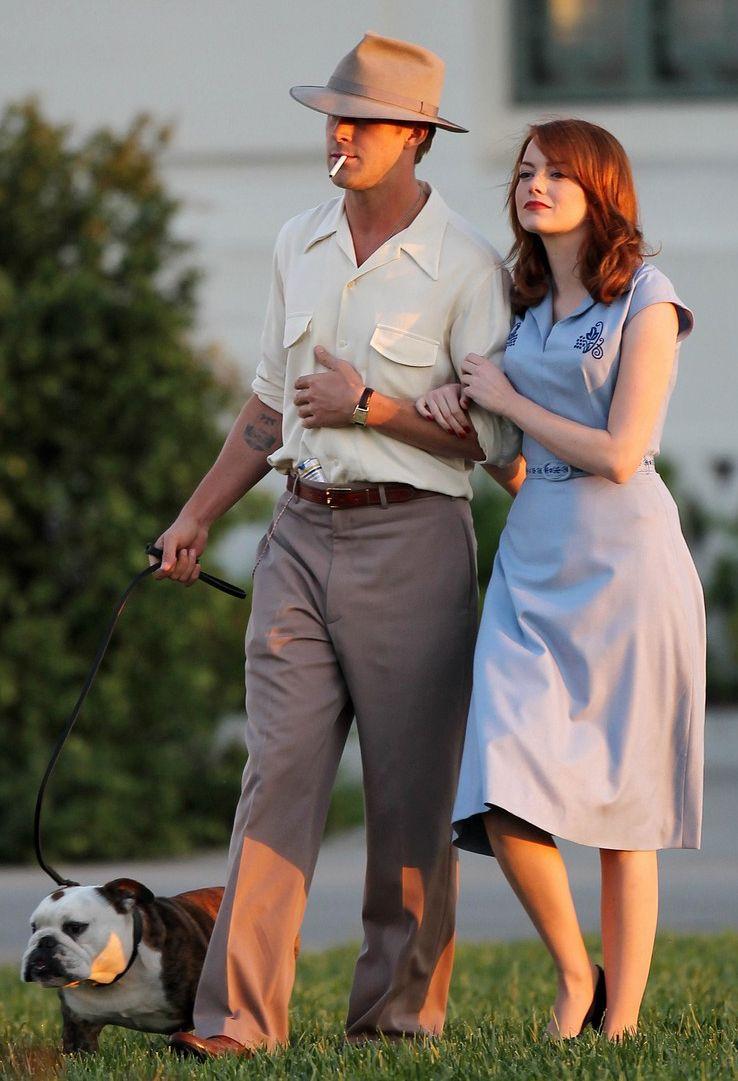 Ryan Gosling and Emma Stone on The <strong><em>Gangster Squad</em></strong> Set #3