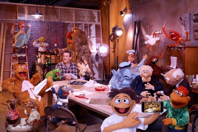 Jason Segel with <strong><em>The Muppets</em></strong>