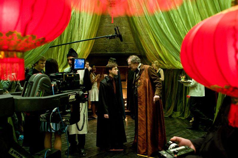Daniel Radcliffe and Jim Broadbent on the set