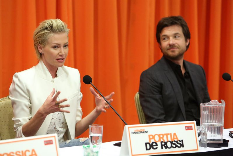 Jason Bateman and Portia de Rossi field questions at the <strong><em>Arrested Development</em></strong> Season 4 press conference