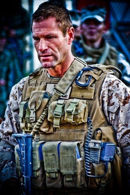 Aaron Eckhart as a Marine staff sergeant