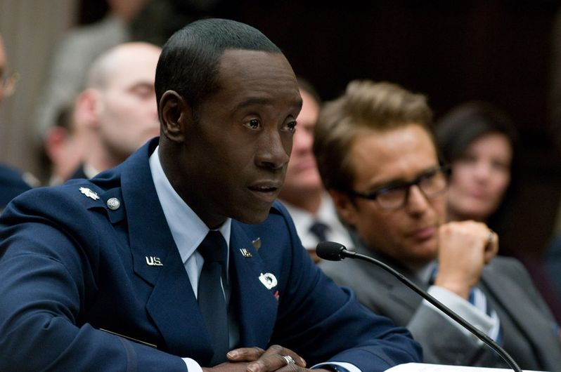 Don Cheadle and Sam Rockwell in <strong><em>Iron Man 2</em></strong>