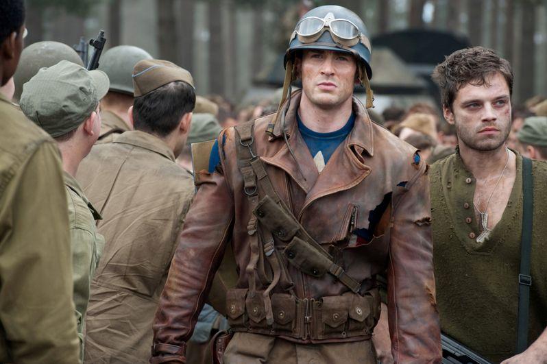 Chris Evans plays Steve Rogers and Sebastian Stan plays Bucky