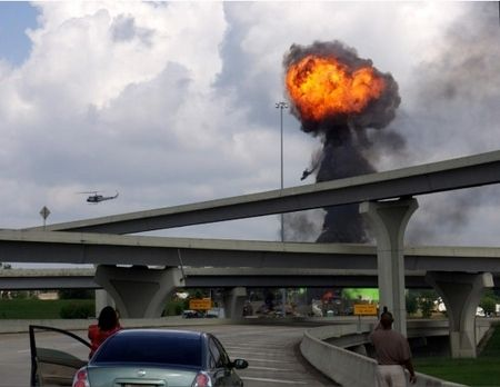 Mushroom cloud of fire caused by a bus explosion
