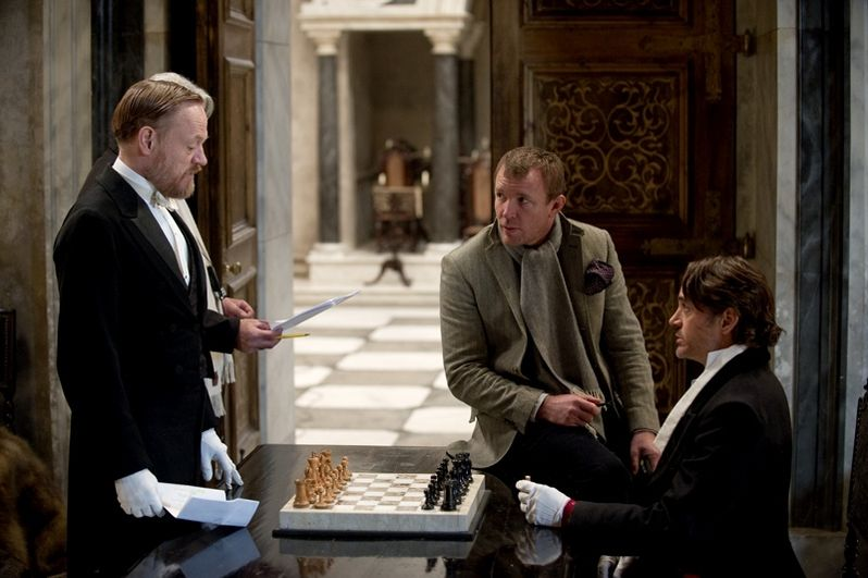 Jared Harris, Guy Ritchie and Robert Downey Jr.