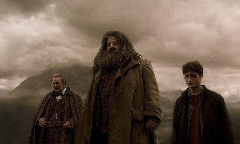 Jim Broadbent as Professor Horace Slughorn, Robbie Coltrane as Rubeus Hagrid and Daniel Radcliffe as Harry Potter