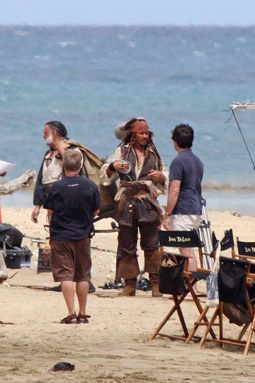 Johnny Depp and Kevin McNally on the set of Pirates of the Caribbean 4