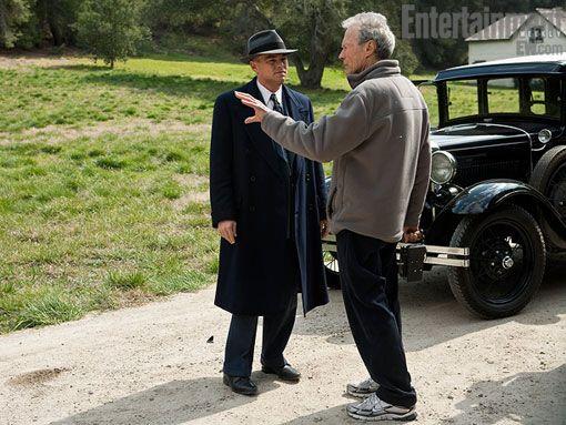 Leonardo DiCaprio and Clint Eastwood on the set of <strong><em>J. Edgar</em></strong>