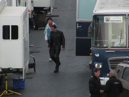 Nicolas Cage on the Ghost Rider: Spirit of Vengeance set