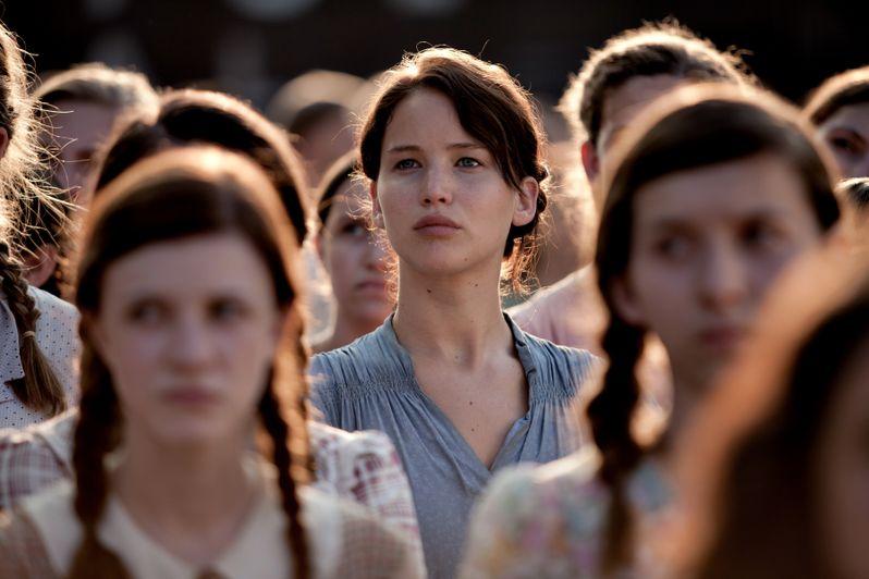 Jennifer Lawrence as Katniss in <strong><em>The Hunger Games</em></strong>