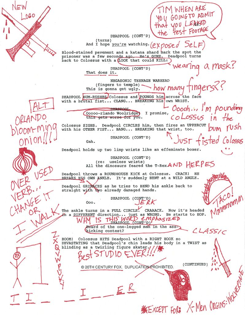 <strong><em>Deadpool</em></strong> Script Page
