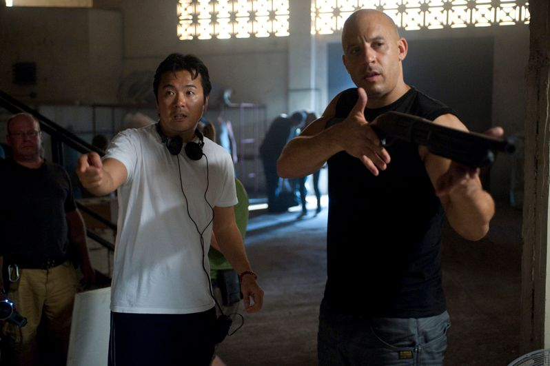 Justin Lin and Vin Diesel on the set